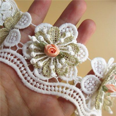 10x Vintage Embroidered Lace Edge Trim Ribbon Wedding Applique DIY Sewing Craft