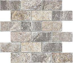 Silver//Grey Travertine Tumbled 2 X 4 Brick Mosaic Tile 1 Sheet