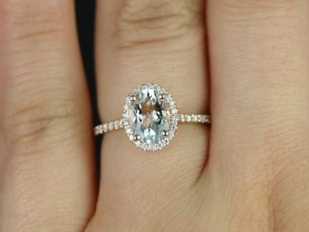 Rosados Box Rebecca Rose Gold Oval White Sapphire and Diamonds Halo Engagement Ring