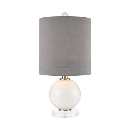 Clear And White Round Glass Table Lampfaux Silk Shade With Banded
