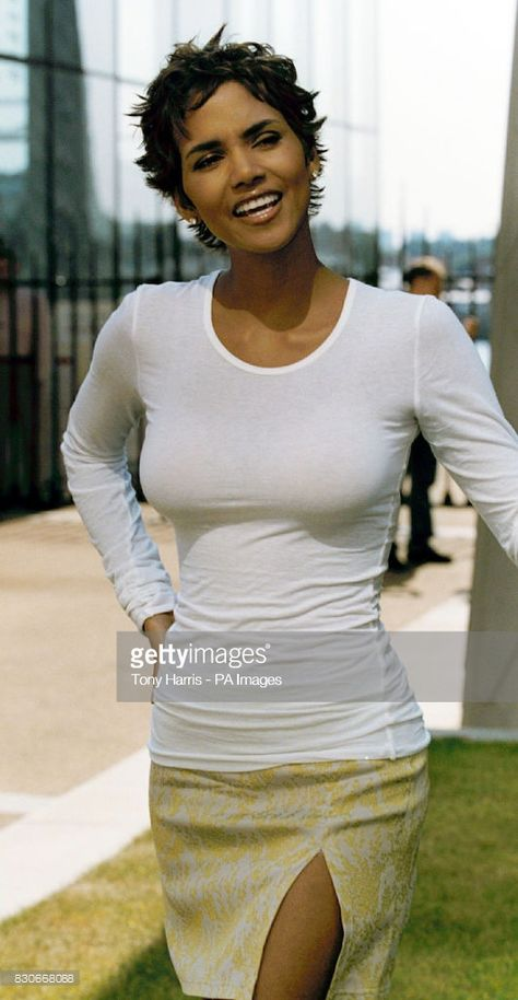 American actress Halle Berry during a photocall at Canary Wharf in London to promote her new film Swordfish. * American actress Halle Berry who is is poised to star in the next James Bond film as the female villain.