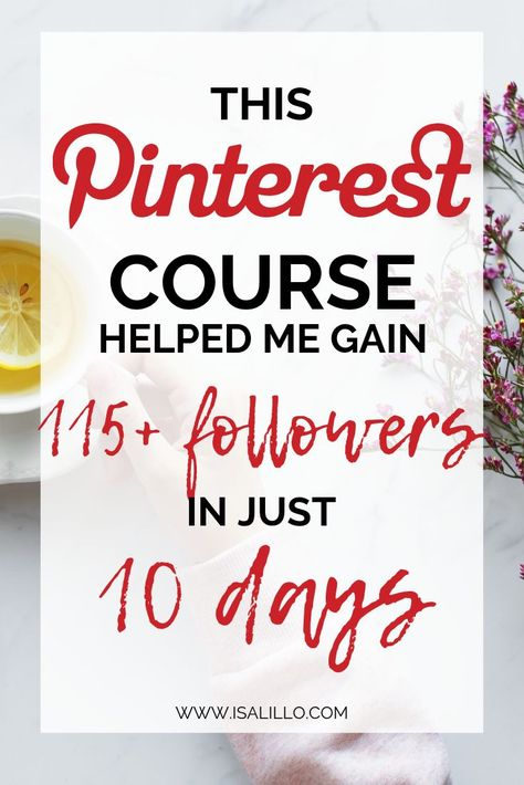 Before this course, I was barely getting 2 followers a day. It was so frustrating! So, I decided to dig into Pinterest marketing and I found this incredible course by Ell Duclos. By implementing her tips, I grew my followers by 115+ in just 10 days, making Pinterest my number one source of traffic.  If you are curious to learn more and to skyrocket your Pinterest Marketing this course is what you need.   Click to read more...  #affiliate #pinterest #pinterestmarketing #pinteresttips