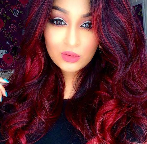ℒᎧᏤᏋ her bright red highlighted voluminous hair..Via @morphebrushes IG ღ❤️ღ                                                                                                                                                     More