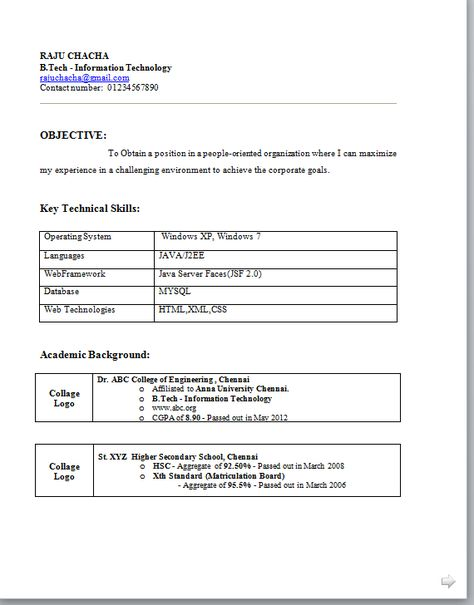 Basic Resume Format Pdf -    wwwresumecareerinfo basic - resume format for mca