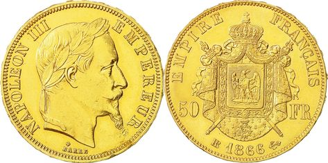 50 Francs 1866 Bb France Coin Napoleon Iii Gold Pinterest