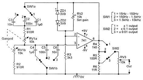 Three Decade 15hz 15khz Wien Bridge Oscillator