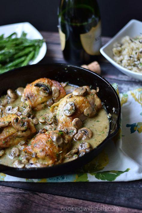 French Chicken au Champagne: Impressive, elegant, delicious, and simple to prepare.