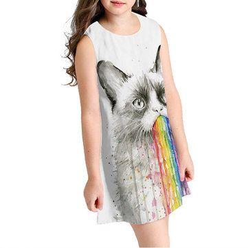 فساتين منسوجة كتف بدون حمالات بطبعة قطة لمدة 10 15 سنة Newchic موقع الجوال Tie Dye Top Dyed Tops Dresses