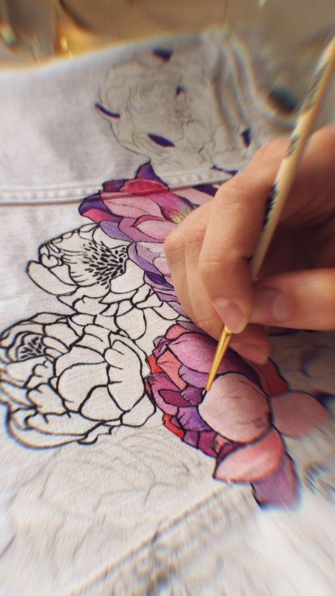 hand painted beautiful peonies | custom denim jacket