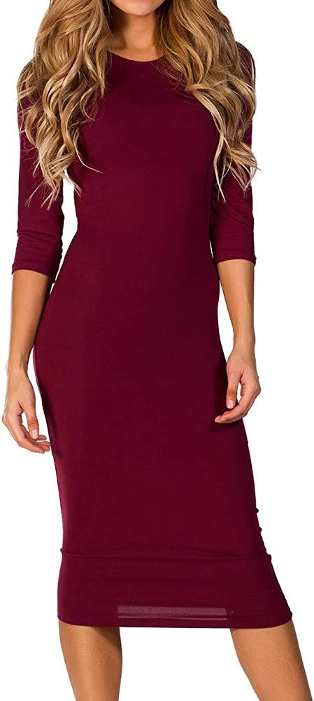 Iconoflash Womens Black Body Con Midi Dresses 3//4 Sleeves Crew Neck Fitted D.