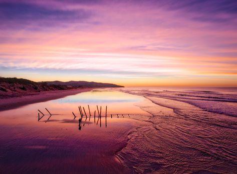 A ruined dock on the coast at Dunedin on St. Clair's beach. #TreyRatcliff #NewZealand #Dunedin #Beach #Sunrise