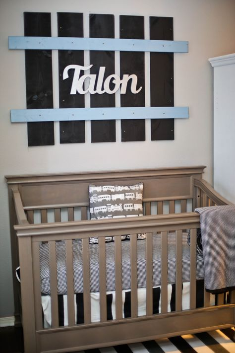 Railroad track name made by Daddy! Train Nursery Theme #boynursery #trainnursery #nursery