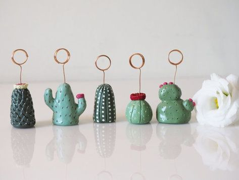Cactus table number holders this set of clay catuses can be used as place card holders for wedding or parties, wedding favors, picture holder or as unique business card holders. Colors can be customised and the DISCOUNTS apply to larger orders. Image Cactus, Cactus Art, Cactus Ceramic, Ceramic Art, Unique Business Cards, Business Card Holders, Business Ideas, Picture Holders, Place Card Holders