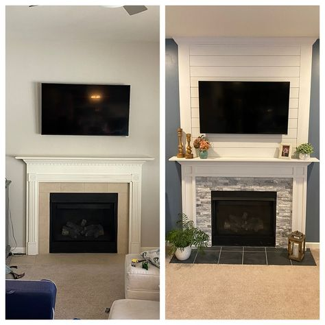 Fireplace Makeover - Before and After! - Sweet Tooth Sweet Life Here's our new fireplace makeover! Complete with a new, custom built mantle, new tile surround and beautiful shiplap. Then we finished with a new paint job. Brick Fireplace Makeover, Home Fireplace, Living Room With Fireplace, Fireplace Surrounds, Fireplace Design, Fireplace Ideas, Ideas For Fireplaces, Renovate Fireplace, Furniture Around Fireplace