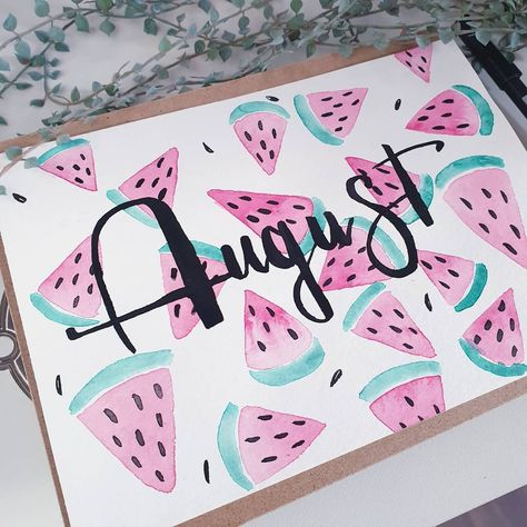 Hallo August Lettering Handlettering Watercolor Melon Melone