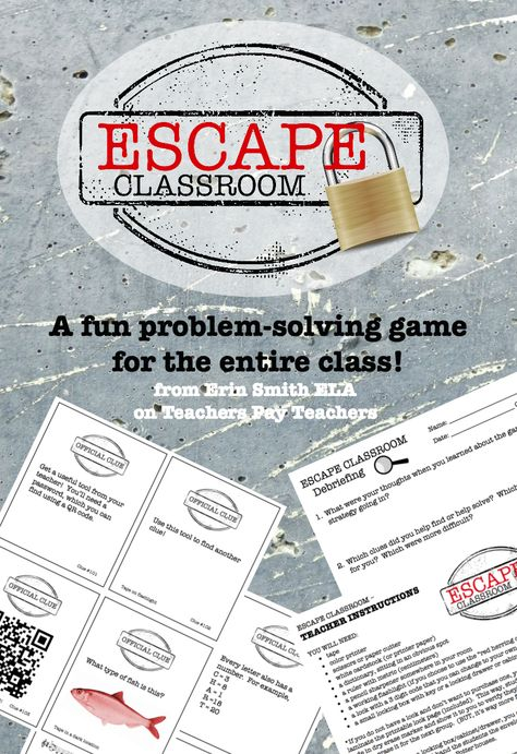 """Modeled after the popular """"Escape Room"""" games in many cities around the country, this classroom version prompts students to work together as a class to solve puzzles, connect the clues, and crack the code!"""
