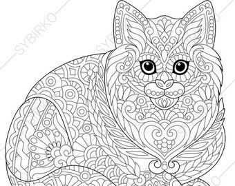 Stock vector of 'Stylized cute cat (young kitten). Freehand sketch for adult anti stress coloring book page with doodle and zentangle elements.