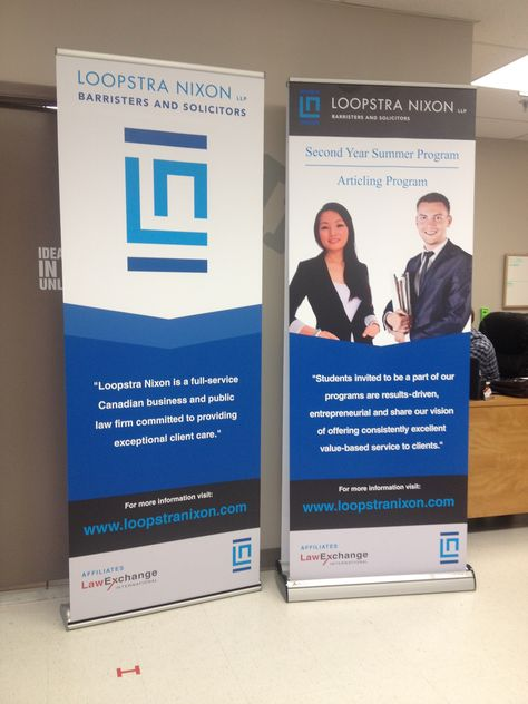 advance 2 sided retractable banner completed by speedpro imaging oakville for loopstra nixon a law firm looks great and program ideas summer program law firm