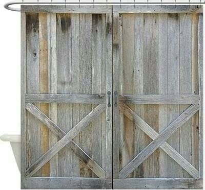 Barn Door Shower Curtain I Wanted Rustic Wood In My Bathroom This May Just Be The Key Without Putting Wood On The Walls Barn Door Shower Curtain Rustic Shower Curtains Rustic