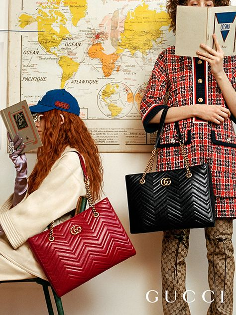 Preseting the new GG Marmont tote bags in a specially treated matelassé chevron leather, finished wi Fashion Shoot, Editorial Fashion, Love Fashion, High Fashion, Womens Fashion, Tote Bags, Gucci Tote Bag, Duffle Bags, Under Armour Sweatshirts