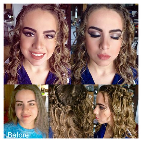 Where to start with this...for starters I WISH I had this porcelain skin! Got this #beauty ready for #prom. #BeforeAndAfter For the #hair #SoftCurls #DoubleWaterfallBraids #WaterfallBraids For the #makeup she wanted it dramatic! Colored the #brows in a bit #SmokeyEyes #WingLiner #FakeLashes #WhitePencilLiner on #LowerLid Gave her that #Contour face #NudeLips from #Sephora. #PromLook #PromMakeover #PromHair #PromMakeup #ClassieBeauty www.facebook.com/ClassieBeauty