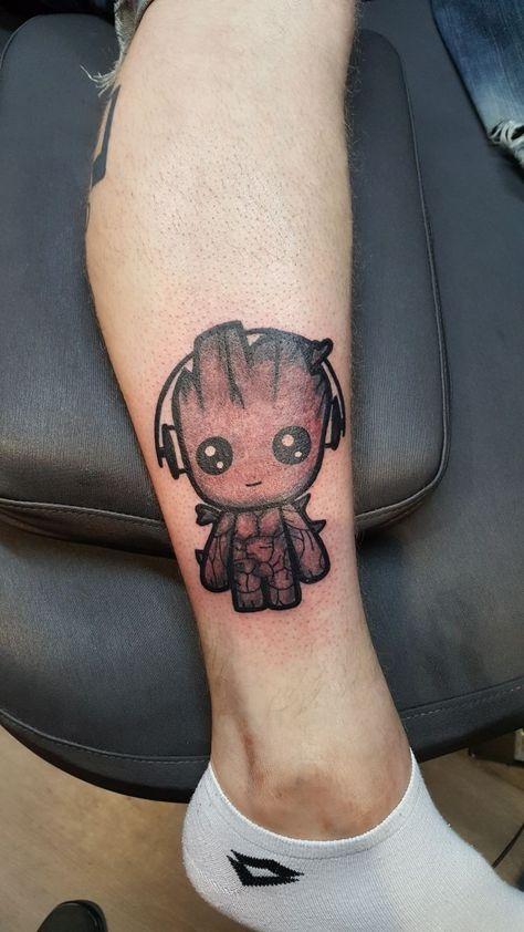 I am groot #iamgroot #tattoo #blackandgrey #fun #music #sweet #marvel #disney #comic
