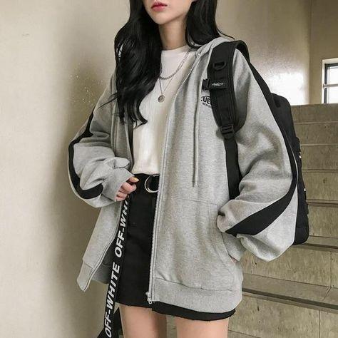 Oversized Harajuku Jacket - Gray / S