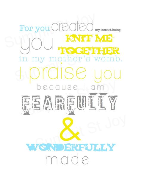 PSALM 139 - Digital File to Print Christian Nursery Subway Art - Baby Boy Girl Room Decor - New Baby Shower Gift GRAY Yellow BLUE. $5.00, via Etsy.