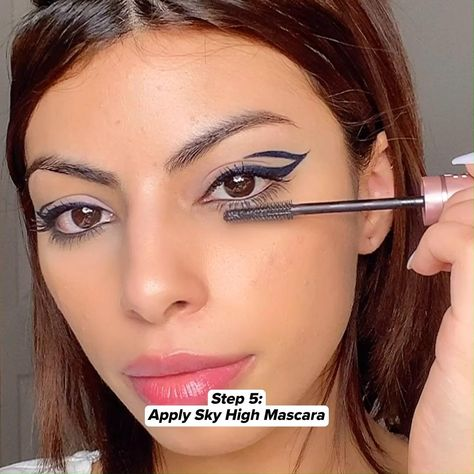 Trend Alert! The graphic floating eyeliner we can't seem to get enough of! Get @Harbsy look with our fan favorites Tattoo Studio Gel Pencil, Hyper Easy liquid eyeliner, Color Strike Eyeshadow Pen, and Sky High Mascara. Tap this pin to shop the look!