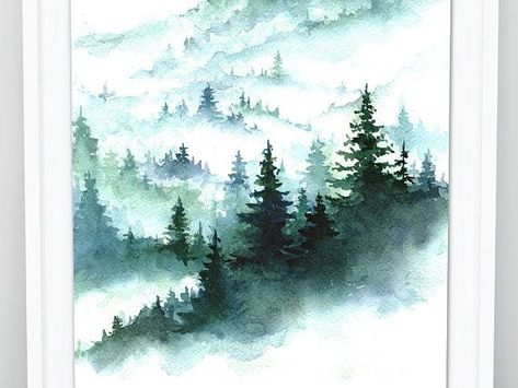 Foggy Forest Watercolor Forest Print Pine Forest Art Print Misty