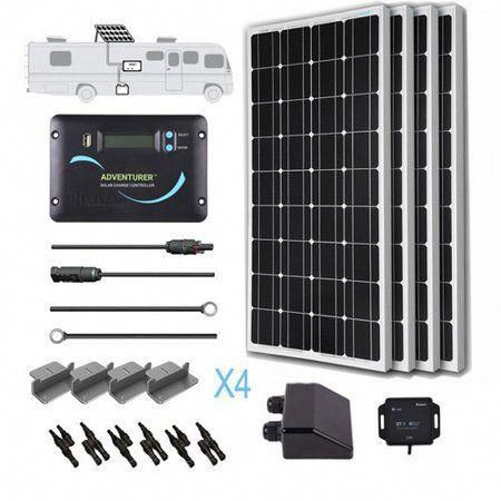 Renogy 400 Watts 12 Volts Monocrystalline Solar Rv Kit Off Grid Kit With 30a Pwm Lcd Charge Controller Mounting Brackets Mc4 Connectors Solar Cables Cabl Monocrystalline Solar Panels Solar