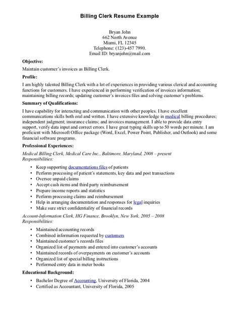 Medical Billing Clerk Resume resume order resume cv cover letter - medical biller resume