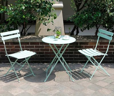 bb074f44e0be The Grand Patio Premium Steel Folding Patio Bistro Set features one round  table and two matching chairs with a powder-coated steel frame structure  which is ...