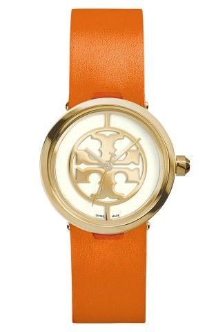 Tory Burch 'Reva' Logo Dial Leather Strap Watch, 28mm   No