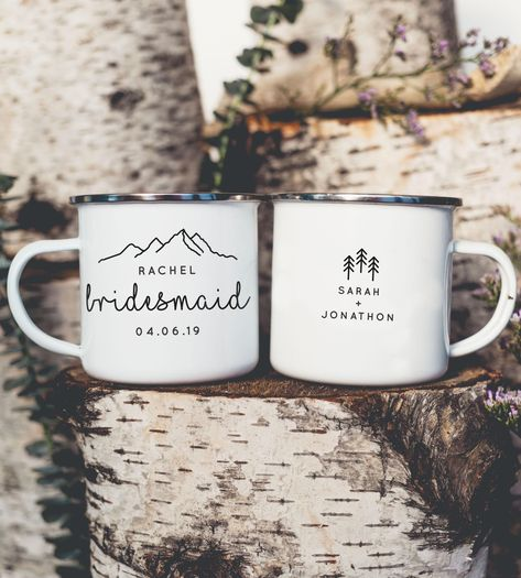 Personalized Bridesmaid Maid of Honor Camping Mugs Gift with mountains