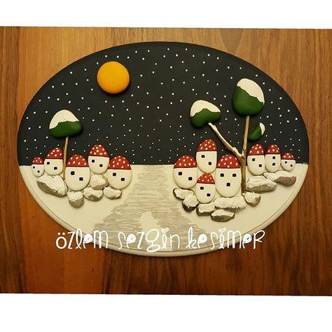 paintingrocks 23x30 cm. Kar manzarası....