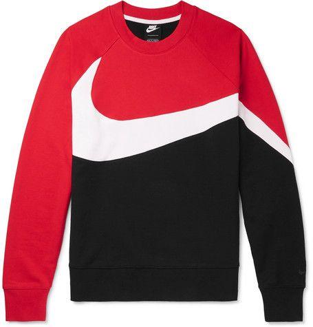 Nike Colour Block Loopback Cotton Blend Jersey Weatshirt Multi