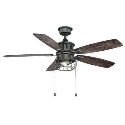 Aldenshire 52 In Led Indoor Outdoor Natural Iron Ceiling Fan With Light Kit Black Ceiling Fan Ceiling Fan With Light Ceiling Fan