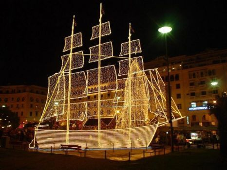 Christmas Boat Greece.Christmas Boat In Greece Before Coming The Decoration Of