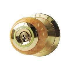 ドアノブ サテンブラス角座 棒カギ錠付 アメリカ製スイッチ