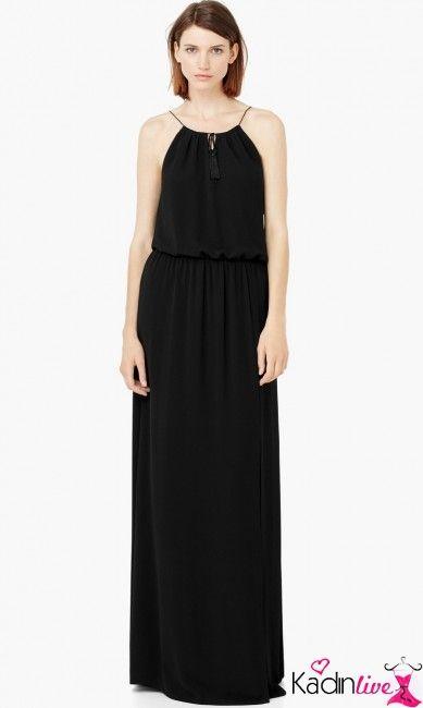 Dokumlu Ince Askili Siyah Yazlik Uzun Elbise Modelleri Kadinlive Com Elbise Modelleri Uzun Elbise Moda Stilleri