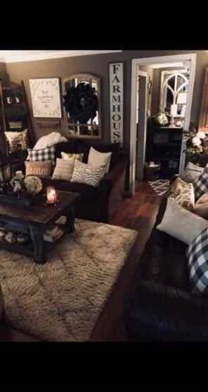 16 Ideas Farmhouse Livingroom Brown Couch Spaces For 2019 Farm House Living Room Living Room Design Decor Home