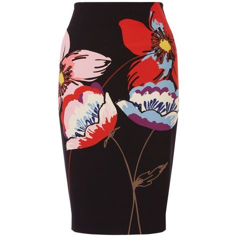 Fenn Wright Manson Petite Naples Flower Placement Skirt, Black/Multi (£69) ❤ liked on Polyvore featuring skirts, bottoms, юбки, petite, stretch skirts, flower print skirt, flower skirt, knee length pencil skirt and floral print skirt