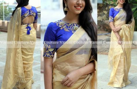 2a7ada3eb41ceb Style Plain Saree with Embroidery Blouse – 17 Chic Ideas!