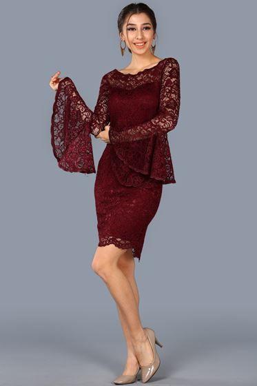Dantel Islemeli Bordo Elbise Patirti Elbise Kisa Elbise The Dress