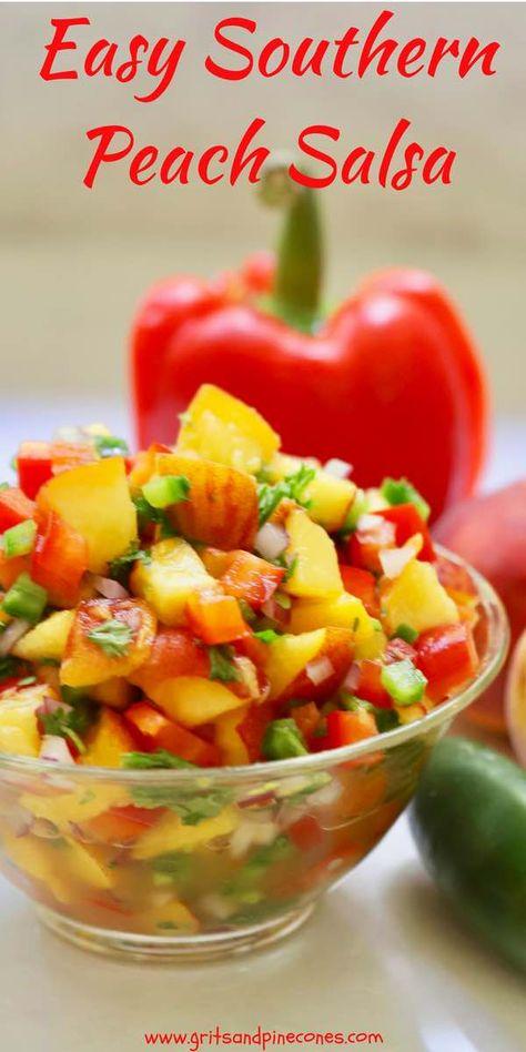 Easy Southern Fresh Peach Salsa Recipe | gritsandpinecones.com