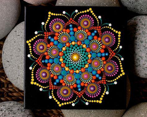 Handpainted mandala on Czechoslovakian Terracotta tile by