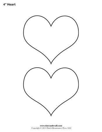 Heart Template 4 Inch Heart Template Printable Heart Template