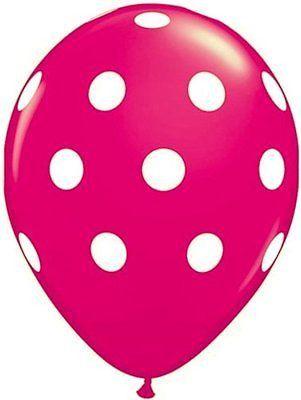 Wild Berry & Pink Big Polka Dots Qualatex Latex Balloons x 25