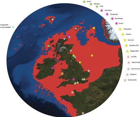 'Britain's Atlantis' found at bottom of North sea - a huge undersea world swallowed by the sea in 6500BC  Divers have found traces of ancient land swallowed by waves 8500 years ago  Doggerland once stretched from Scotland to Denmark  Rivers seen underwater by seismic scans  Britain was not an island - and area under North Sea was roamed by mammoths and other giant animals  Described as the 'real heartland' of Europe  Had population of tens of thousands - but devastated by sea level rises